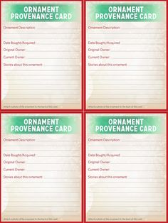 Record the stories of your family ornaments with these Ornament Provenance Card templates!