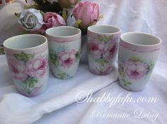 Hand Painted Roses Set Of Porcelain Cups