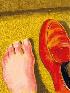 David Hockney book: Untitled, 6 January 2011, 1 iPad Drawing of a foot and a shoe