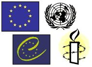 The emblems of Amnesty International, The United Nations, The European Union and The Council of Europe.
