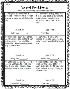 Money Word Problems - - aligned with grade Common Core Math Standard Counting Money Worksheets, 2nd Grade Math Worksheets, Number Worksheets, Capacity Worksheets, Writing Worksheets, Preschool Worksheets, Word Problems 3rd Grade, Second Grade Math, Grade 2