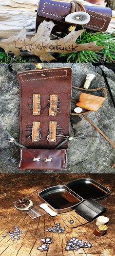 Leather wallet style emergency fishing kit filled with kooks, line, weights and more. www.facebook.com/LEFGEAR