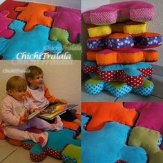 Tutu puzzle cushion: too hot! // Add a strip of 5 cm along for the . Fabric Crafts, Sewing Crafts, Sewing Projects, Diy Projects, Sewing For Kids, Baby Sewing, Diy For Kids, Sewing Pillows, Diy Pillows