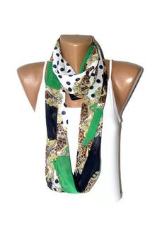 SALE Chiffon Infinity Scarf green and navy blue  by seno on Etsy, $15.00