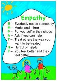 TEACHING YOUR CHILD EMPATHY  Empathy means caring and understanding how others feel. When your baby was born, you started teaching empathy when you responded to her needs on time and in a loving way. Because of the way that you cared for your child, you may see that she does the same for you. If you are upset or hurt she may pat your back or bring you her favorite toy that comforts her.   Build upon those emerging skills of empathy by teaching her how to recognize feelings in other people…