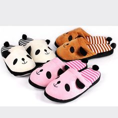 Ulrica 2016 New Arrival Slippers Women Indoor Winter Cotton Lovely Cartoon Panda Home Floor Soft Stripe Slippers Female Shoes