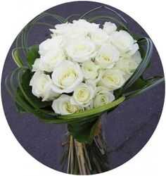 Hand tied ivory bridal bouquet.
