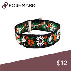 "Hipster Boho Choker with trendy Flower Stitching 🌸 Hipster Boho Choker with trendy Flower Stitching! 🌸 Material: Fabric; Adjustable  length from about 11"" to 17"", width about 1"" Jewelry Necklaces"