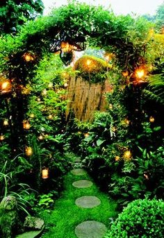 An enclosed space with scented plants, moving water and gentle lighting makes the perfect evening garden.