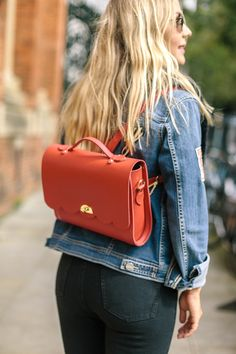 Our Convertible Cloud Backpack in Crimson Grain.