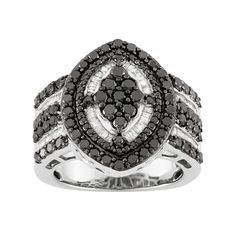2 Carat T.W. Black & White Diamond Sterling Silver Marquise Ring, Women's, Size: 7