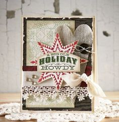 Shabby Yonder Star Card...with star, lace, ribbon, & heart.