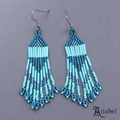 Turquoise Native American Style Long Seed Bead by Anabel27shop, $15.00