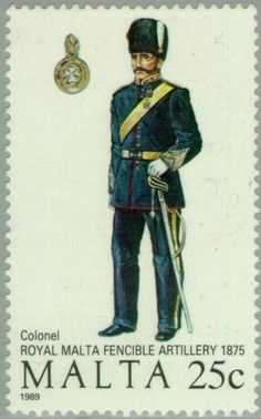 Sello: Colonel, Royal Malta Fencible Artillery, 1875 (Malta) (Maltese Uniforms (3rd Series)) Mi:MT 821,Sg:MT 854