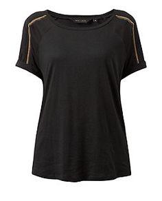 Black Beaded Trim Roll Sleeve T-Shirt | New Look