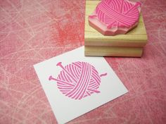 Wool and Needles - Hand Carved Rubber Stamp