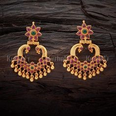 Unique Design Temple Earrings Studded With Ruby Green Spinal Stones! #earrings #ruby #green #temple #kushalsfashionjewellery