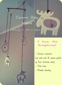 "Baby Mobile Project:    ""I wanted something white, simple and based around a Scandanavian theme""    Jodene McCallum, Ruby's Nest Ltd www.rubysnest.co.nz"