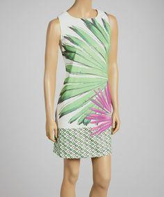 Look what I found on #zulily! Green Palm Leaf Sheath Dress - Women by Como No? by Biz #zulilyfinds