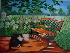 Cat in A Garden Oil Painting 36 X 48 inches original artwork Large painting bench in a garden SOLD! South Florida, Original Paintings For Sale, Original Artwork, Outdoor Cats, Outdoor Decor, Large Painting, Beautiful Interiors, Dream Big
