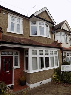 Residence 9 windows supplied and installed in London and southern counties by Enfield Windows. Timber Windows, House Windows, Windows And Doors, Bay Windows, Siding Colors For Houses, Front Door Colors, Front Doors, 1920s House, External Doors
