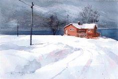 """Daily+Paintworks+-+""""Snowy+15""""+-+Original+Fine+Art+for+Sale+-+©+Emilio+López"""