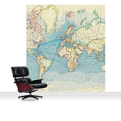 Wallpaper mural political world map sample image walls buy surface view world surface routes mural online at johnlewis gumiabroncs Image collections