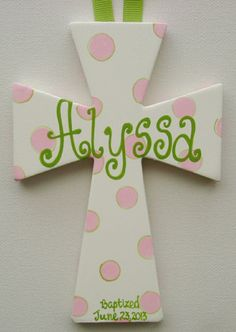 Hand painted personalized 6 in. childs wall cross by BellaLouart