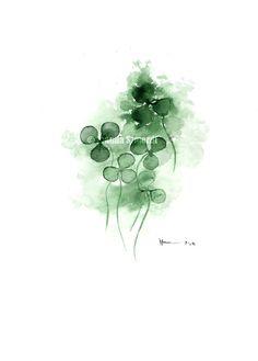 Good luck True clover original watercolor by ColorWatercolor