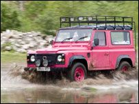 Pink Land Rover