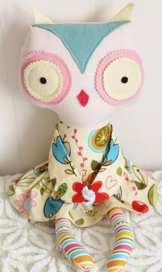 Owl Doll cloth doll hand made by JennCannon on Etsy, $40.00