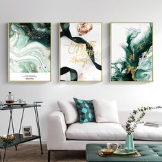 Green Agate Abstract Canvas Painting Golden Leaf Nordic Posters and Prints Wall Art Pictures for Living room Modern Home Decor – Bitrosa Dining Room Wall Art, Living Room Paint, Living Room Modern, Living Room Pictures, Wall Art Pictures, Canvas Pictures, Canvas Wall Art, Wall Art Prints, Green Wall Art