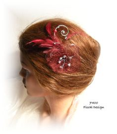 Wedding bridal hair accessories hairpin Tango blossom filigree wire feathers beads red garnet 7400