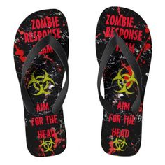 MEN/WOMEN'S Sizes Flip Flops created by kfwinters. Creepy Halloween Decorations, Zombie Hunter, Fantasy Gifts, Dead Zombie, Mens Flip Flops, Flip Flop Sandals, Gifts For Dad, No Response, Sexy Men