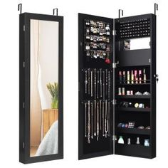 FirsTime & Co. 43 in. Rustic Arch Jewelry Armoire-81007 - The Home Depot Mirror Jewellery Cabinet, Jewelry Mirror, Jewellery Storage, Wall Mounted Jewelry Armoire, Body Mirror, Shelf Design, Wall Organization, Decoration, 3 D