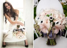 mix fabric and real flower bouquet