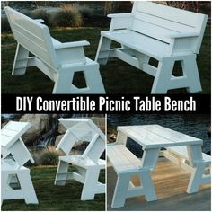 An ingenious way to maximize space on your property is to make a convertible picnic table that can be used as table or bench when seating will be necessary.