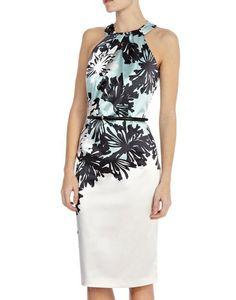 White+Halter+Floral+Backless+Slim+Dress+US$80.96