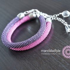 New pink+violet bead crochet bangles.