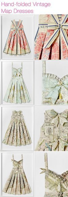 Vintage map dresses - Would be so cute in a little girls room.