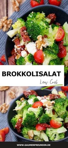 Low Carb Brokkolisalat mit getrockneten Tomaten und Walnüssen - MITTAGSPAUSE IM BÜRO - Broccoli salad with sun-dried tomatoes, walnuts and feta – a healthy low-carb fitness salad that is perfect for meal prep Beef Recipes, Salad Recipes, Chicken Recipes, Low Carb Broccoli Salad, Cottage Cheese Salad, Salad Menu, Healthy Snacks, Healthy Recipes, Breakfast Healthy
