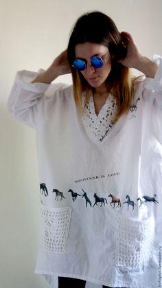 """Купить Блуза их хлопка в стиле бохо """" Аллюр"""" - белый, рисунок, большой, большой размер"""