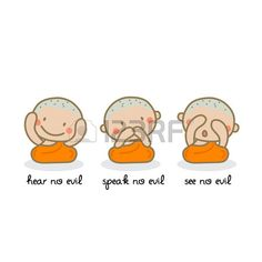 Illustration of Hear no evil, speak no evil, see no evil. vector art, clipart and stock vectors. See No Evil, Music Files, Vector Art, Clip Art, Stock Photos, Comics, Creative, Illustration, Projects
