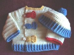 NEWBORN BABY BOY SWEATER JACKET and HAT  GONE by SugarToeBabies ♡