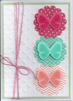 Stampin up butterfly, stampin up papers and ink...cuttlebug embossing folder.twine from a package at Michaels, think it was American Crafts brand