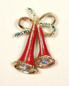 Vintage Christmas Bells Pin Brooch Rhinestone | eBay