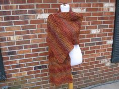 Wildfire Orange Knit XL Prayer Shawl in Homespun by PoppyLesti