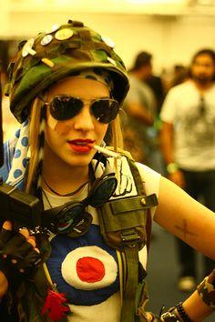 Tank Girl- Helmet with pins, mod shirt, goggles, aviators