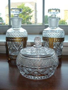 Vintage Glass Vanity Set Perfume Bottles and Powder Box 1950's