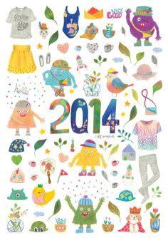 2014 ILLUST CALENDAR by Jeong mi , via Behance